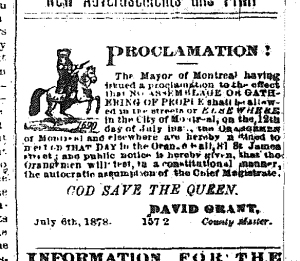 Example of Orange activities in Montreal, Montreal Daily Star, 6 July 1878