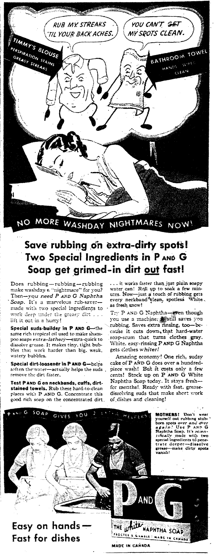 P and G soap ad, 1936, Chatelaine magazine.