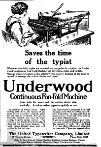 Underwood Continuous Fold Machine ad