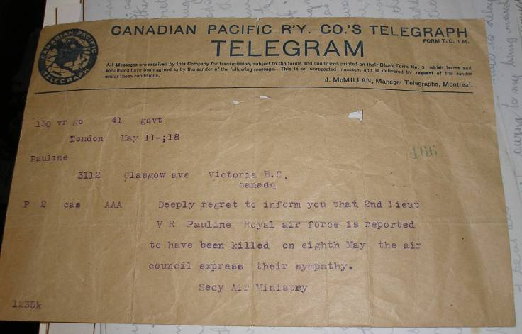 Telegram sent in 1918 to the Pauline family, announcing the death of their son Victor. c. Kathleen Paulin