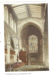 Interior of St Margaret's Church dated 1809 - from guidebook