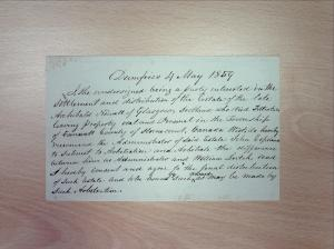Note dated 4 May 1859, Walter Newall Fonds, GD 130/3/15(1), Dumfries and Galloway Council Archives.