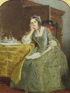 John William Wright (1802-1848) - Watercolour - Seated portrait of a woman reading a letter, from https://www.the-saleroom.com/en-gb/auction-catalogues/canterbury-auction-galleries/catalogue-id-srcan10011/lot-0e98467a-9ba0-4d28-9a97-a444006599b5