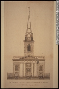 The Protestant Episcopal Parish Church of Montreal. Completed 1821. Anonyme - Anonymous 1822, 19th century Ink on paper - Etching 41 x 22 cm Gift of Mr. David Ross McCord M1242 © McCord Museum