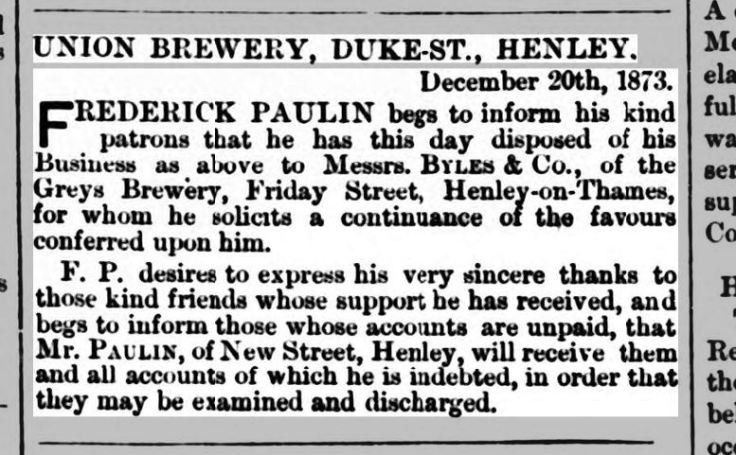 henley advertiser 10 jan 1874 - FP